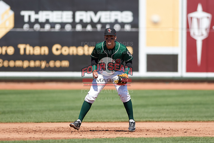 Great Lakes Loons third baseman Miguel Vargas (11) during a Midwest League game against the Wisconsin Timber Rattlers at Dow Diamond on May 4, 2019 in Midland, Michigan. Great Lakes defeated Wisconsin 5-1. (Zachary Lucy/Four Seam Images)