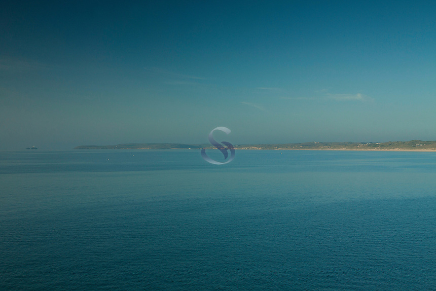 Godrevy Lighthouse, Godrevy Point, Hayle Sands and St Ives Bay from Carbis Bay