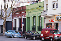 A street in central Montevideo with typical town houses Montevideo, Uruguay, South America
