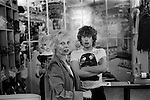 Vivienne Westwood wearing a felt Inside Out Jacket,in her shop Seditionaries in the Kings Road Chelsea London 1977. Shop assistants Michael Collins who wears Cambridge Rapist design T shirt, produced by Westwood's partner Malcolm McLaren a couple of years earlier