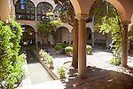 Courtyard garden of the Convent of San Francisco parador hotel in the Alhambra, Granada, Spain