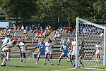 28 August 2011: North Carolina's Rachel Wood (24, left) heads the ball into the goal in the first half. The University of North Carolina Tar Heels defeated the University of Houston Cougars 6-1 at Fetzer Field in Chapel Hill, North Carolina in an NCAA Women's Soccer game.