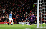 Kevin De Bruyne of Manchester City shoots and the deflected shot goes into the net of a United player during the Carabao Cup match at Old Trafford, Manchester. Picture date: 7th January 2020. Picture credit should read: Darren Staples/Sportimage