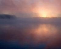 Mississippi River and fog at sunrise, Port Louisa National Wildlife Refuge, Louisa County, Iowa
