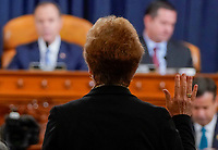Marie Yovanovitch, former U.S. ambassador to Ukraine, is sworn in before a House Intelligence Committee hearing as part of the impeachment inquiry into U.S. President Donald Trump on Capitol Hill in Washington, U.S., November 15, 2019. <br /> Credit: Joshua Roberts / Pool via CNP/AdMedia