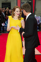 Emma Stone and Andrew Garfield arriving for the World Premiere of 'The Amazing Spider-Man 2' at Odeon Leicester Square, London. 10/04/2014 Picture by: Dave Norton / Featureflash