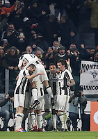 Goal Gonzalo Higuain Calcio, Serie A: Juventus vs Roma. Torino, Juventus Stadium,17 dicembre 2016. <br /> Juventus&rsquo; Gonzalo Higuain, left, partially seen, celebrates with teammates after scoring the winning goal during the Italian Serie A football match between Juventus and Roma at Turin's Juventus Stadium, 17 December 2016.<br /> UPDATE IMAGES PRESS/Isabella Bonotto
