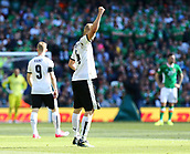 June 11th 2017, Dublin, Republic Ireland; 2018 World Cup qualifier, Republic of Ireland versus Austria;  Martin Hinteregger of Austria raises his fist to the crowd in celebration of scoring his sides first goal
