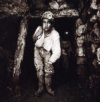 Portrait of a miner chewing Cocoa Leaves at the Potosi Mine, Potosi, Eastern Cordillera, Bolivia