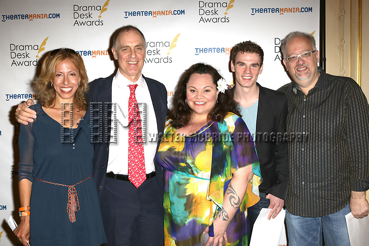 Amanda Green, Keith Carradine, Keala Settle, Jay Armstrong Johnson and Doug Wright attending The 2013 Drama Desk Nominees Reception at JW Mariott Essex House Hotel in New York City on 5/8/2013...