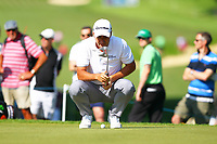 Marcus Fraser eyes up his putt on the 2nd green during the BMW PGA Golf Championship at Wentworth Golf Course, Wentworth Drive, Virginia Water, England on 25 May 2017. Photo by Steve McCarthy/PRiME Media Images.