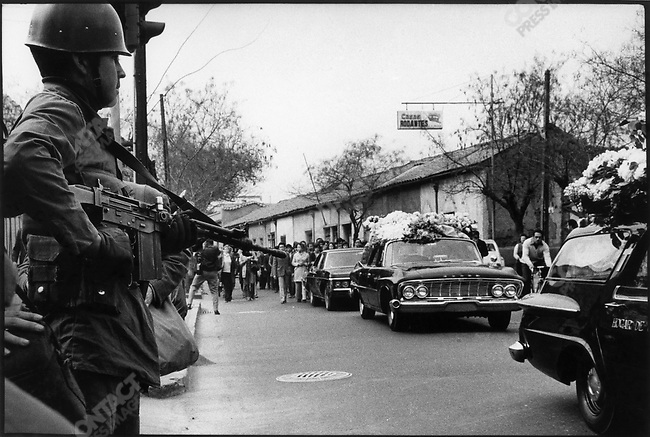 The funeral of poet Pablo Neruda, who died shortly after the military coup that occured on September 11, 1973. Santiago, Chile, September 1973