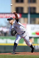 Empire State Yankees starting pitcher Andy Pettitte #46 delivers a pitch during a game against the Pawtucket Red Sox at Frontier Field on May 6, 2012 in Rochester, New York.  A regular season record of 13,584 fans, a sell out, attended the game as Pettitte allowed five runs on eight hits over five innings with five strikeouts and two walks in what is believed to be his last game in the minor leagues after coming out of retirement to pitch for the New York Yankees.  (Mike Janes/Four Seam Images)