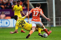Blackpool's Matty Virtue is fouled by Fleetwood Town's Nathan Sheron who was then red carded<br /> <br /> Photographer Richard Martin-Roberts/CameraSport<br /> <br /> The EFL Sky Bet League One - Blackpool v Fleetwood Town - Monday 22nd April 2019 - Bloomfield Road - Blackpool<br /> <br /> World Copyright © 2019 CameraSport. All rights reserved. 43 Linden Ave. Countesthorpe. Leicester. England. LE8 5PG - Tel: +44 (0) 116 277 4147 - admin@camerasport.com - www.camerasport.com