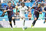 Real Madrid's Vinicius Junior (c) and Levante UD's Nikola Vukcevic (l) and Ruben Vezo during La Liga match. September 14,2019. (ALTERPHOTOS/Acero)