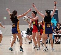 05.10.2012 Tasman's Cara Wiapo in action during the netball match between Tasman and Eastern at the Lion Foundation Netball Champs in Tauranga. Mandatory Photo Credit ©Michael Bradley.