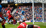 07.04.2018: Rangers v Dundee:<br /> Kenny Miller hits the ball off the post