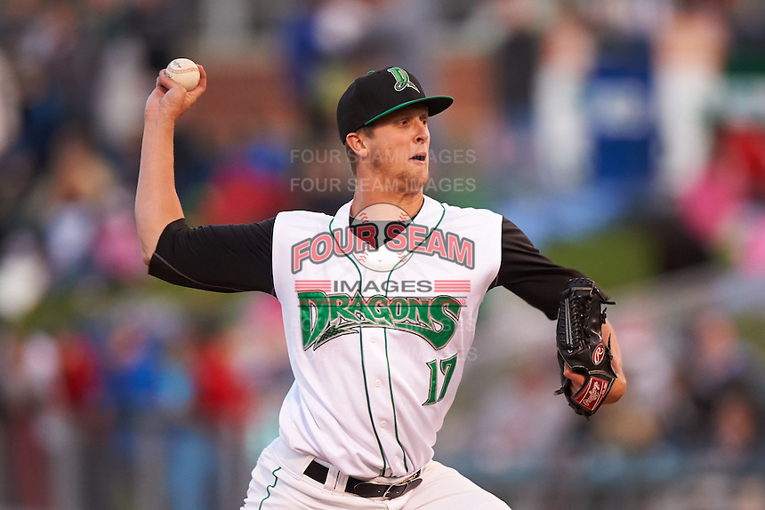 Dayton Dragons pitcher Jake Paulson (17) delivers a pitch during a game against the Great Lakes Loons on May 21, 2015 at Fifth Third Field in Dayton, Ohio.  Great Lakes defeated Dayton 4-3.  (Mike Janes/Four Seam Images)