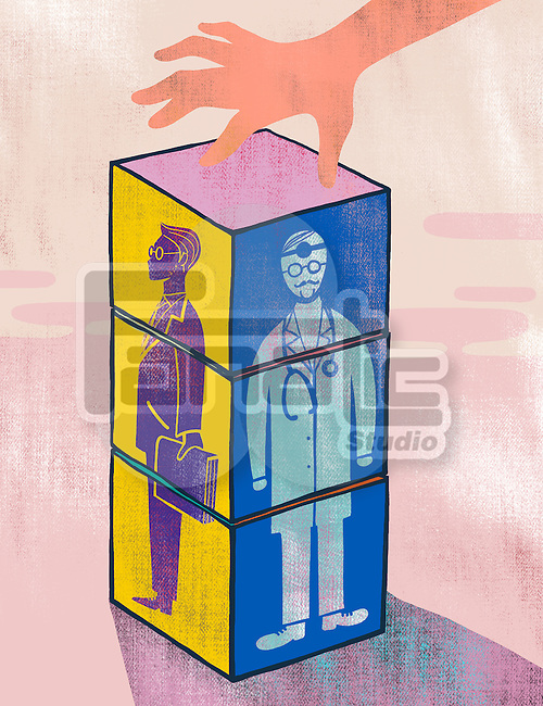 Illustrative image of hand touching cube of businessman and doctor representing career selection