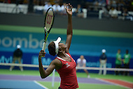 Washington, DC - July 14, 2015: Washington Kastles' Venus Williams serves during a doubles match against the Austin Aces during week 3 of the World Team Tennis 2015 season, July 14, 2015, at the Kastles' Stadium in the District of Columbia. The Austin Aces won 22-17 over the Kastles. Williams is currently ranked 15th in the world. (Photo by Don Baxter/Media Images International)