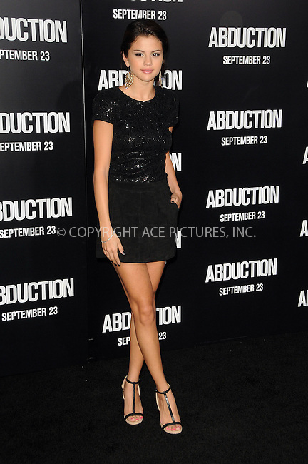 WWW.ACEPIXS.COM . . . . .  ....September 15 2011, LA....Selena Gomez arriving at the Los Angeles premiere of 'Abduction' at Grauman's Chinese Theatre on September 15, 2011 in Hollywood, California.....Please byline: PETER WEST - ACE PICTURES.... *** ***..Ace Pictures, Inc:  ..Philip Vaughan (212) 243-8787 or (646) 679 0430..e-mail: info@acepixs.com..web: http://www.acepixs.com