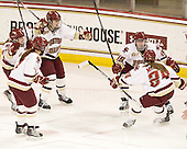 Dru Burns (BC - 7), Kate Leary (BC - 28), Taylor Wasylk (BC - 9), Emily Field (BC - 15), Meagan Mangene (BC - 24) - The Boston College Eagles defeated the visiting St. Lawrence University Saints 6-3 (EN) in their NCAA Quarterfinal match on Saturday, March 10, 2012, at Kelley Rink in Conte Forum in Chestnut Hill, Massachusetts.