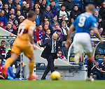 Rangers manager Mark Warburton urging his side on as Scott McDonald and Kenny Miller compete for the ball