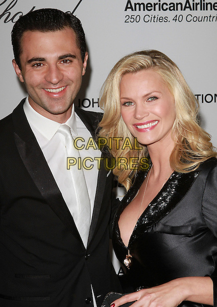 DARIUS CAMPBELL & NATASHA HENSTRIDGE.19th Annual Elton John AIDS Foundation Academy Awards Viewing Party held at The Pacific Design Center, West Hollywood, California, USA..February 27th, 2011.oscars half length black long sleeve couple suit white shirt tie danesh dress smiling silk satin .CAP/ADM/FS.©Faye Sadou/AdMedia/Capital Pictures.
