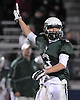 Locust Valley No. 3 Owen Trepeta acknowledges the cheers of fans during a Nassau County varsity football Conference IV semifinal against West Hempstead at Hofstra University on Thursday, Nov. 12, 2015. Locust Valley won 34-10.<br /> <br /> James Escher