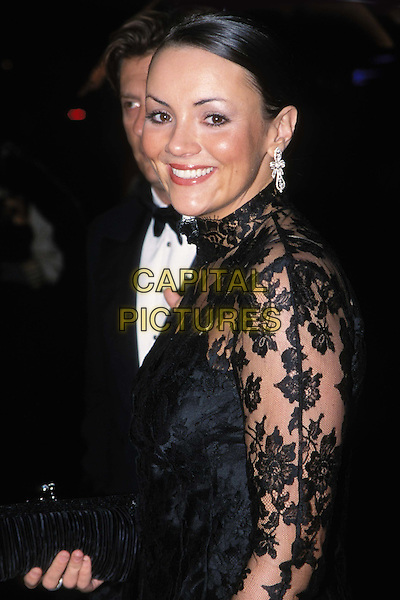 MARTINE McCUTCHEON..BAFTAS ..Ref: 11500..black lace, diamond earrings..www.capitalpictures.com..sales@capitalpictures.com..©Capital Pictures..half length, half-length