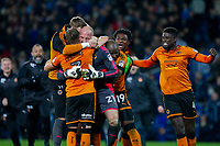 John Ruddy of Wolverhampton Wanderers celebrates his side's win at full time during the Sky Bet Championship match between Cardiff City and Wolverhampton Wanderers at the Cardiff City Stadium, Cardiff, Wales on 6 April 2018. Photo by Mark  Hawkins / PRiME Media Images.