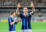 Stockholm 2014-03-09 Fotboll Svenska Cupen Djurg&aring;rdens IF - Assyriska FF :  <br /> Djurg&aring;rdens Andreas Johansson jublar n&auml;r han tackar publiken efter matchen<br /> (Foto: Kenta J&ouml;nsson) Nyckelord:  Djurg&aring;rden jubel gl&auml;dje lycka glad happy
