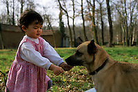 Little girl playing with a dog outside.