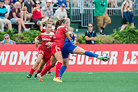 Boston, MA - Saturday July 01, 2017: Shelina Zadorsky and Natasha Dowie during a regular season National Women's Soccer League (NWSL) match between the Boston Breakers and the Washington Spirit at Jordan Field.
