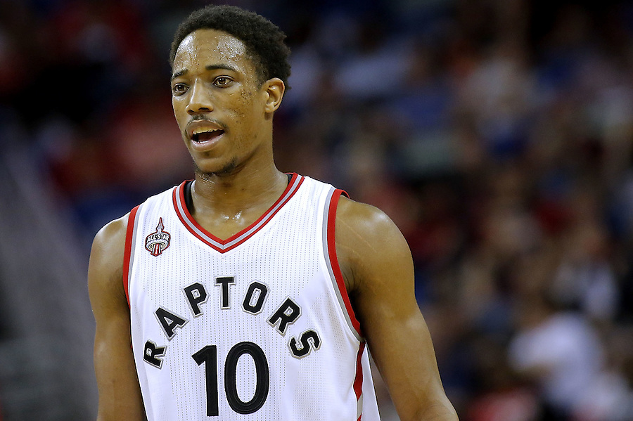 NEW ORLEANS, LA - MARCH 26:  DeMar DeRozan #10 of the Toronto Raptors reacts during a game at the Smoothie King Center on March 26, 2016 in New Orleans, Louisiana. NOTE TO USER: User expressly acknowledges and agrees that, by downloading and or using this photograph, User is consenting to the terms and conditions of the Getty Images License Agreement.  (Photo by Jonathan Bachman/Getty Images)