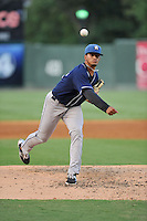 Pitcher Jesus Tinoco (34) of the Asheville Tourists delivers a pitch in a game against the Greenville Drive on Thursday, August 13, 2015, at Fluor Field at the West End in Greenville, South Carolina. Asheville won, 8-1. (Tom Priddy/Four Seam Images)