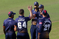 Matt Quinn of Essex celebrates with his team mates after taking the wicket of Aneurin Donald during Glamorgan vs Essex Eagles, Vitality Blast T20 Cricket at the Sophia Gardens Cardiff on 7th August 2018