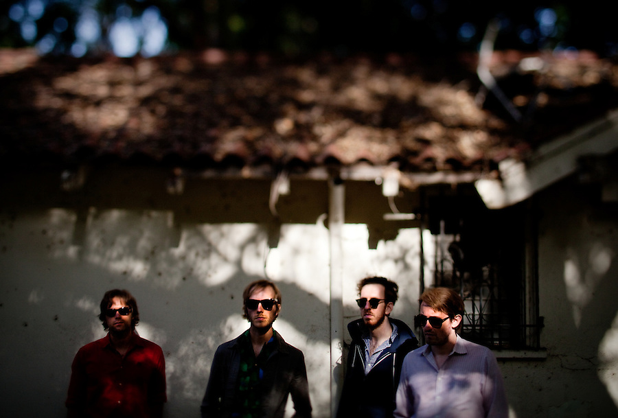 Los Angeles, Calif., April 26, 2009 - From left, Garrett Ray, Matt Popieluch, Ariel Rechtshaid and Lewis Nicolas Pesacov of the band Foreign Born in front of an abandoned home in Elysian Park in Los Angeles.