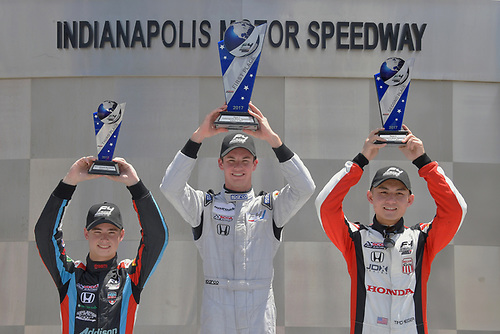 2017 F4 US Championship<br /> Rounds 4-5-6<br /> Indianapolis Motor Speedway, Speedway, IN, USA<br /> Sunday 11 June 2017<br /> Race two winner, Kyle Kirkwood with 2nd place to Timo Reger and 3rd place to Braden Eves.<br /> World Copyright: Dan R. Boyd<br /> LAT Images