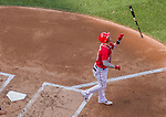 6 September 2014: Washington Nationals outfielder Bryce Harper tosses his bat after striking out during a game against the Philadelphia Phillies at Nationals Park in Washington, DC. The Nationals fell to the Phillies 3-1 in the second game of their 3-game series. Mandatory Credit: Ed Wolfstein Photo *** RAW (NEF) Image File Available ***