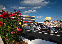 May 30, 2014; Englishtown, NJ, USA; NHRA funny car driver Alexis DeJoria during qualifying for the Summernationals at Raceway Park. Mandatory Credit: Mark J. Rebilas-