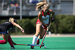 02 October 2016: Boston's Grace Boston (16) and Duke's Margaux Paolino (left). The Duke University Blue Devils hosted the Boston University Terriers at Jack Katz Stadium in Durham, North Carolina in a 2016 NCAA Division I Field Hockey match. Duke won the game 2-1.