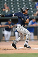 Center fielder Carlos Vidal (2) of the Charleston RiverDogs bats in a game against the Columbia Fireflies on Monday, August 7, 2017, at Spirit Communications Park in Columbia, South Carolina. Columbia won, 6-4. (Tom Priddy/Four Seam Images)