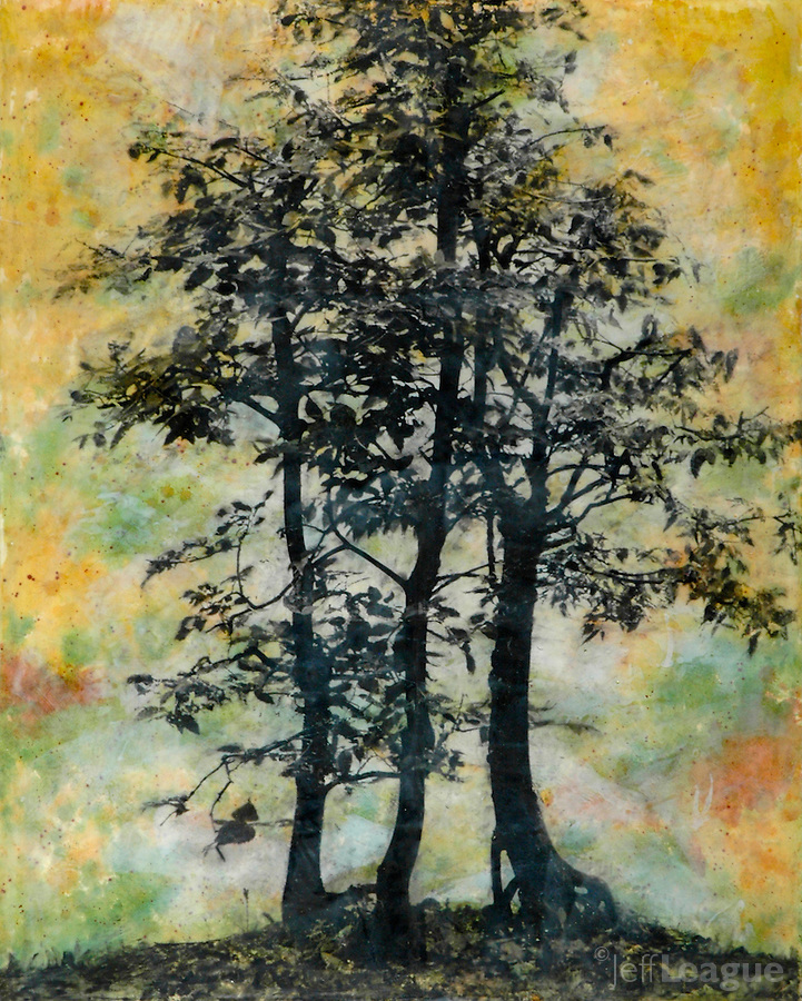 Trees silhouette mixed media encaustic photo transfer.