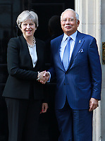 British Prime Minister Theresa May welcomes Prime Minister Najib Razak of Malaysia to 10 Downing Street, London, UK on 14th September 2017.<br /> CAP/PP/PTS<br /> &copy; PTS/PP/Capital Pictures