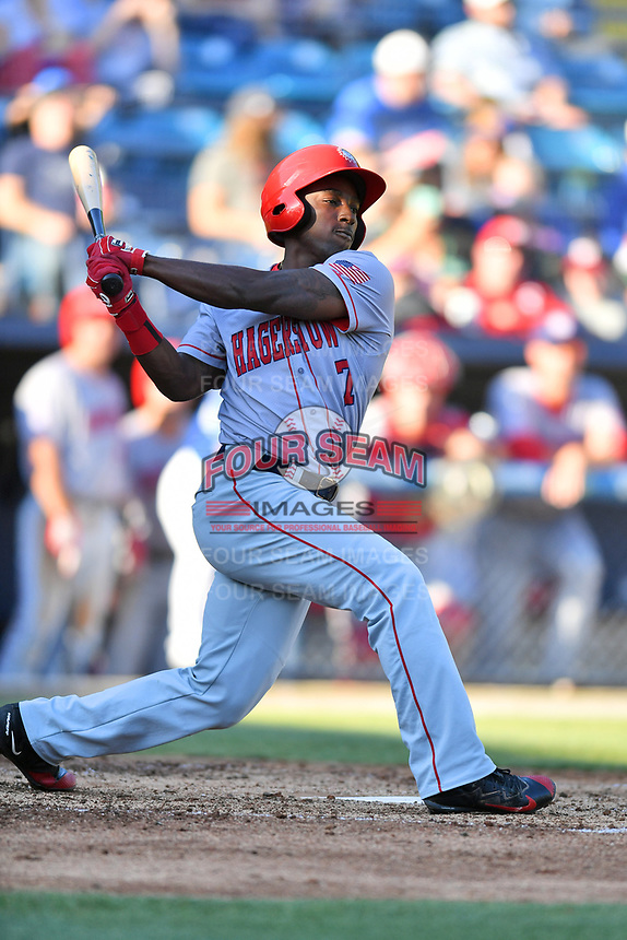 Hagerstown Suns left fielder Daniel Johnson (7) swings at a pitch during a game against the  Asheville Tourists at McCormick Field on May 13, 2017 in Asheville, North Carolina. The Suns defeated the Tourists 9-5. (Tony Farlow/Four Seam Images)