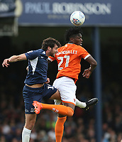 Blackpool's Armand Gnanduillet and Southend United's Joe Shaughnessy<br /> <br /> Photographer Rob Newell/CameraSport<br /> <br /> The EFL Sky Bet Championship - Southend United v Blackpool - Saturday 10th August 2019 - Roots Hall - Southend<br /> <br /> World Copyright © 2019 CameraSport. All rights reserved. 43 Linden Ave. Countesthorpe. Leicester. England. LE8 5PG - Tel: +44 (0) 116 277 4147 - admin@camerasport.com - www.camerasport.com