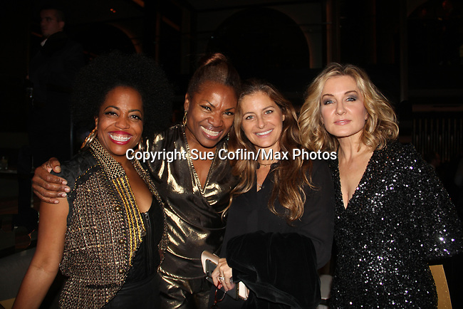 Rhonda Ross and Deborah Koenigsberger & Amy Carlson - Founder & CEO of Hearts of Gold annual All That Glitters Gala - 24 years of support to New York City's homeless mothers and their cildren - (VIP Reception - Silent Auction) was held on November 7, 2018 at Noir et Blanc and the 40/40 Club in New York City, New York.  (Photo by Sue Coflin/Max Photo)