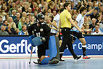 Leipzig, Germany, February 08: Alireza Chazanisharahi #12 of Iran  reacts to a play during the men bronze medal match between Germany (white) and Iran (red) on February 8, 2015 at the FIH Indoor Hockey World Cup at Arena Leipzig in Leipzig, Germany. Final score 13-2. (Photo by Dirk Markgraf / www.265-images.com) *** Local caption ***