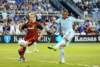 Teal Bunbury (9) scores Sporting KC's second goal... Sporting KC defeated Real Salt Lake 2-0 at LIVESTRONG Sporting Park, Kansas City, Kansas.